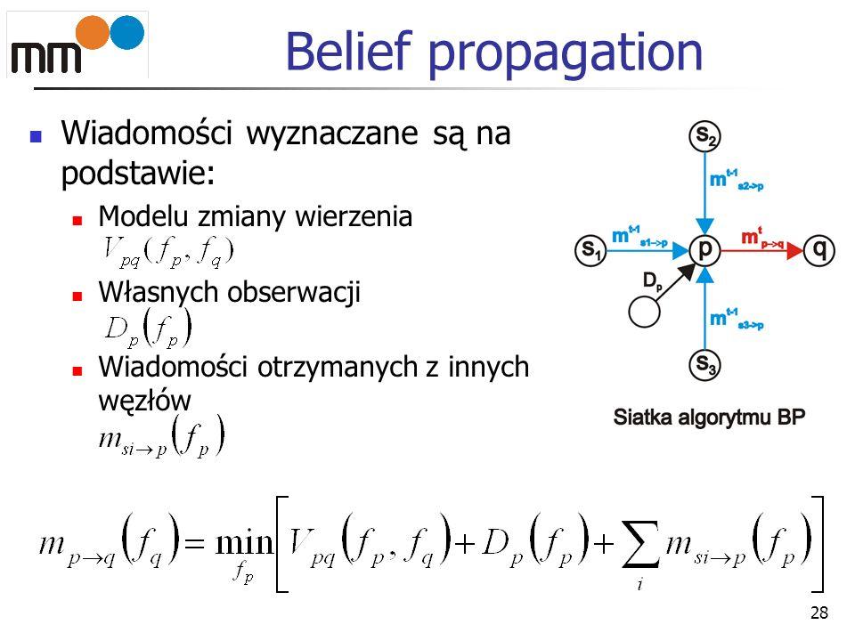 Belief propagation Wiadomości wyznaczane są na podstawie: Modelu zmiany wierzenia Własnych obserwacji Wiadomości otrzymanych z innych węzłów 28