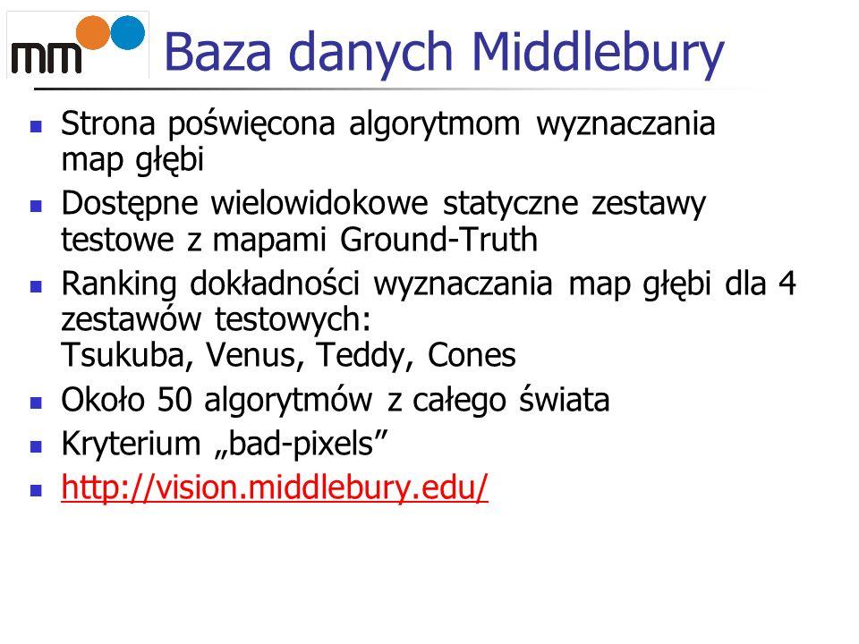 Baza danych Middlebury Strona poświęcona algorytmom wyznaczania map głębi Dostępne wielowidokowe statyczne zestawy testowe z mapami Ground-Truth Ranki