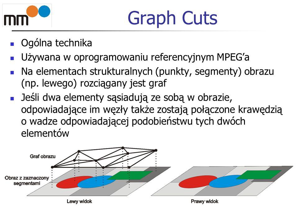 Graph Cuts Ogólna technika Używana w oprogramowaniu referencyjnym MPEGa Na elementach strukturalnych (punkty, segmenty) obrazu (np. lewego) rozciągany