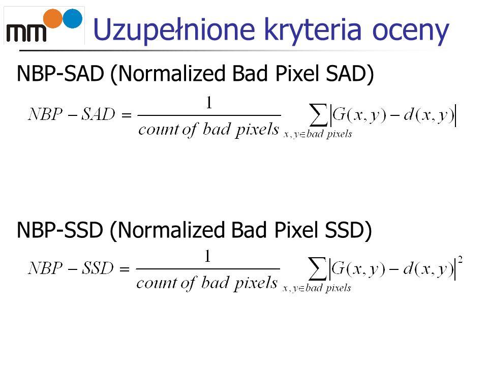 Uzupełnione kryteria oceny NBP-SAD (Normalized Bad Pixel SAD) NBP-SSD (Normalized Bad Pixel SSD)