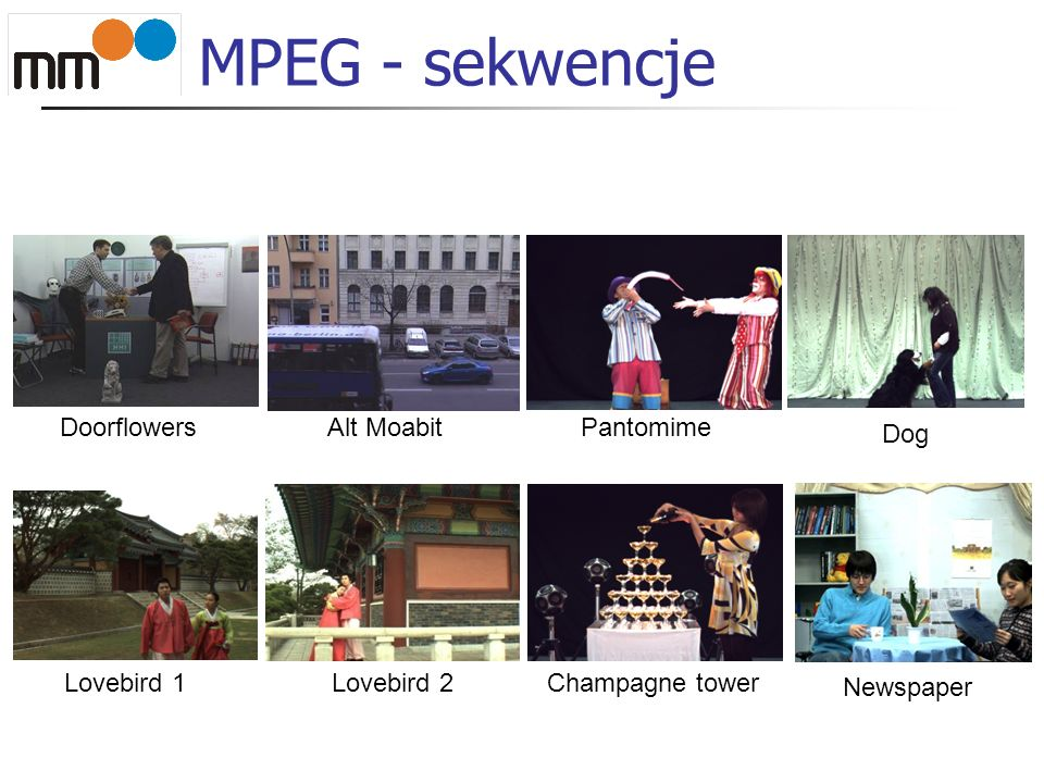 MPEG - jakość Porównanie poziomu PSNR syntezy widoku z oryginalnym widokiem Synteza widoków SL, SR w pozycjach widoków OL, OR na podstawie widoków NL+D, NR+D Wynik syntezy (SL, SR) porównywany z oryginałami (OL, OR)