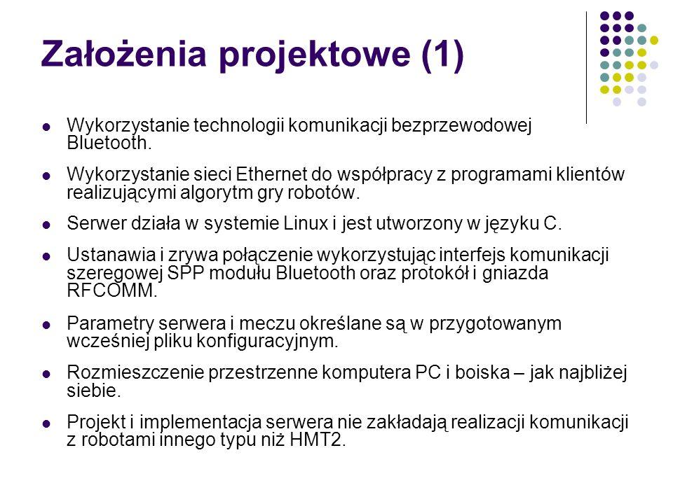 Założenia projektowe (1) Wykorzystanie technologii komunikacji bezprzewodowej Bluetooth. Wykorzystanie sieci Ethernet do współpracy z programami klien