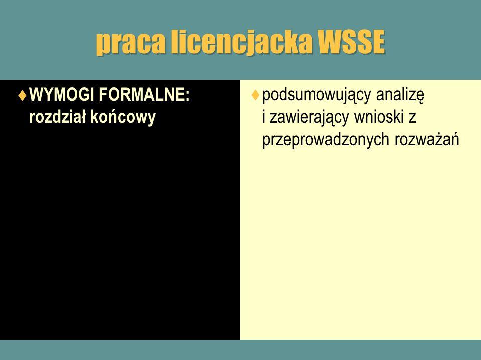 praca licencjacka WSSE WYMOGI FORMALNE: rozdział końcowy podsumowujący analizę i zawierający wnioski z przeprowadzonych rozważań