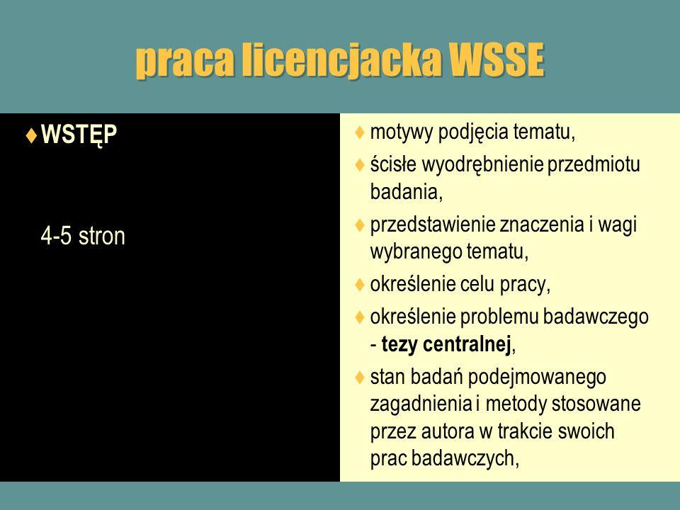 praca licencjacka WSSE WSTĘP 4-5 stron motywy podjęcia tematu, ścisłe wyodrębnienie przedmiotu badania, przedstawienie znaczenia i wagi wybranego tema