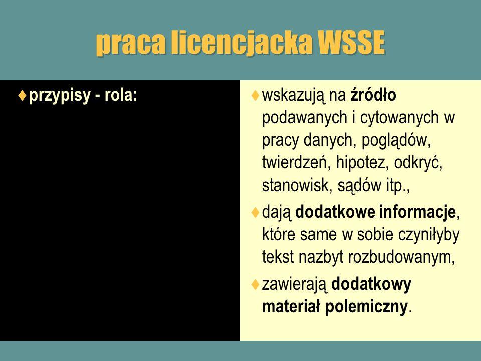 praca licencjacka WSSE przypisy - rola: wskazują na źródło podawanych i cytowanych w pracy danych, poglądów, twierdzeń, hipotez, odkryć, stanowisk, są