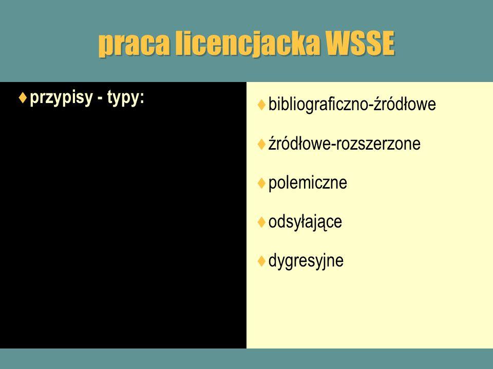 praca licencjacka WSSE przypisy - typy: bibliograficzno-źródłowe źródłowe-rozszerzone polemiczne odsyłające dygresyjne