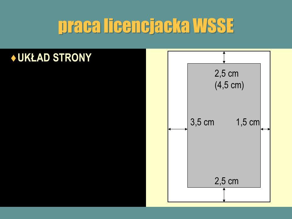 praca licencjacka WSSE UKŁAD STRONY 3,5 cm 2,5 cm (4,5 cm) 1,5 cm 2,5 cm