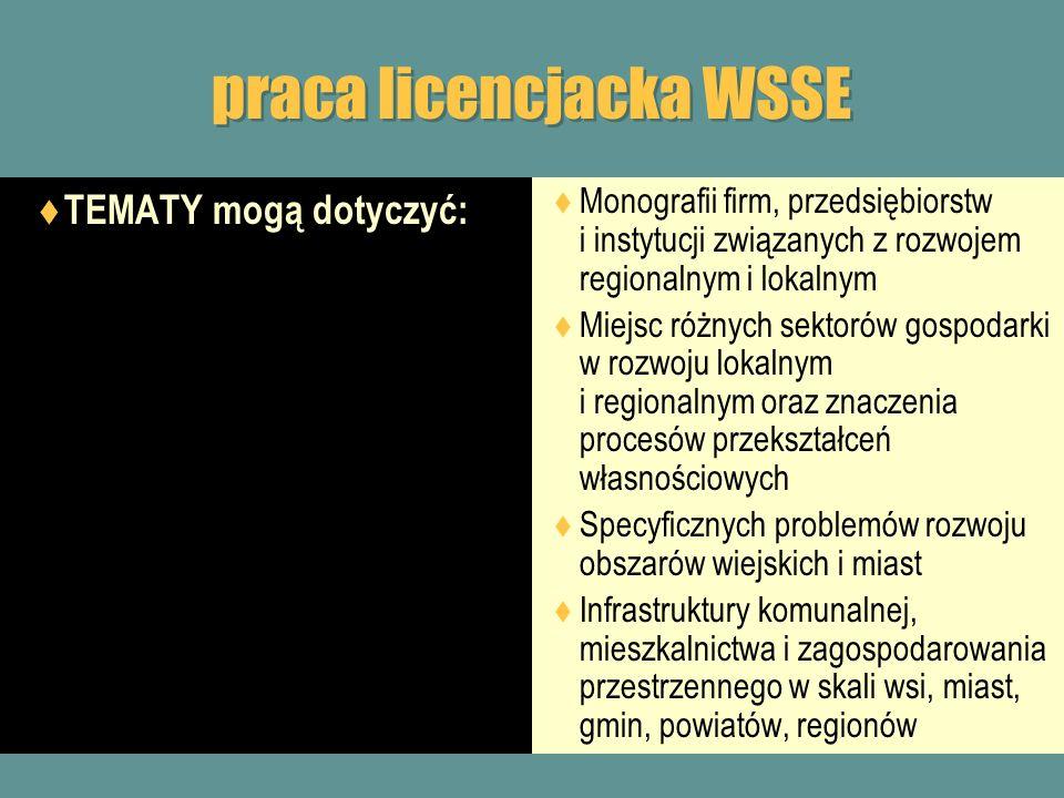 praca licencjacka WSSE TEMATY mogą dotyczyć: Monografii firm, przedsiębiorstw i instytucji związanych z rozwojem regionalnym i lokalnym Miejsc różnych