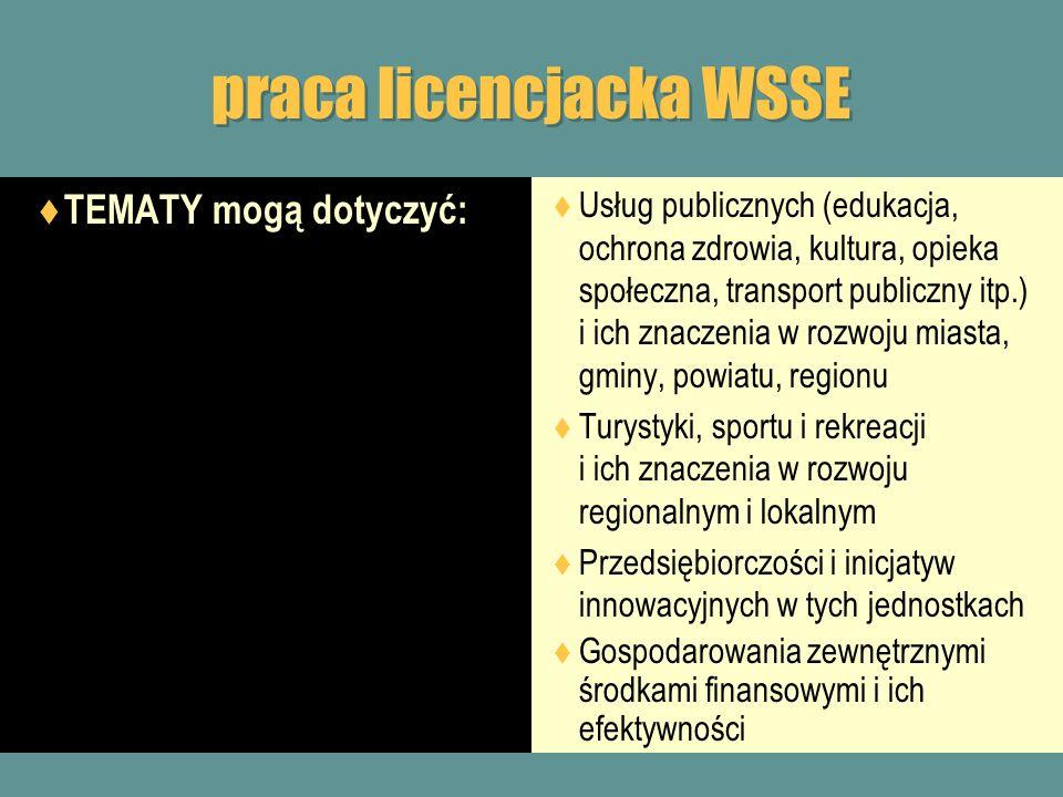 praca licencjacka WSSE TEMATY mogą dotyczyć: Usług publicznych (edukacja, ochrona zdrowia, kultura, opieka społeczna, transport publiczny itp.) i ich