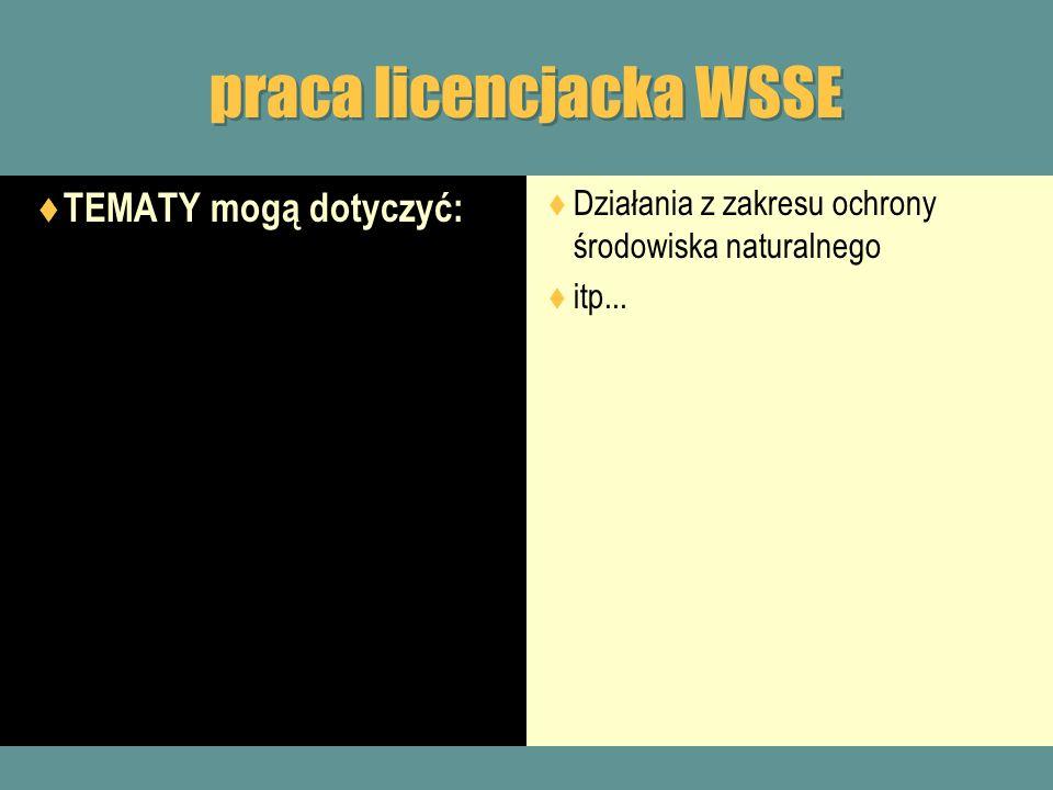 praca licencjacka WSSE TEMATY mogą dotyczyć: Działania z zakresu ochrony środowiska naturalnego itp...