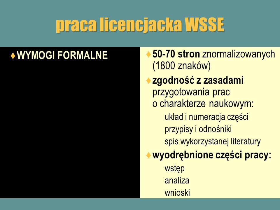 praca licencjacka WSSE WYMOGI FORMALNE: rozdział wstępny prezentacja tytułowego zagadnienia w szerszym kontekście społeczno- ekonomicznym odwołania do najważniejszych pozycji z literatury przedmiotu