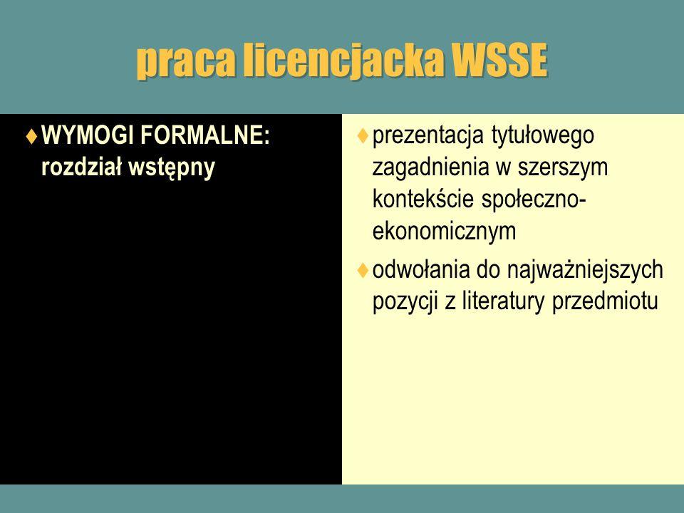 praca licencjacka WSSE WYMOGI FORMALNE: rozdział wstępny prezentacja tytułowego zagadnienia w szerszym kontekście społeczno- ekonomicznym odwołania do