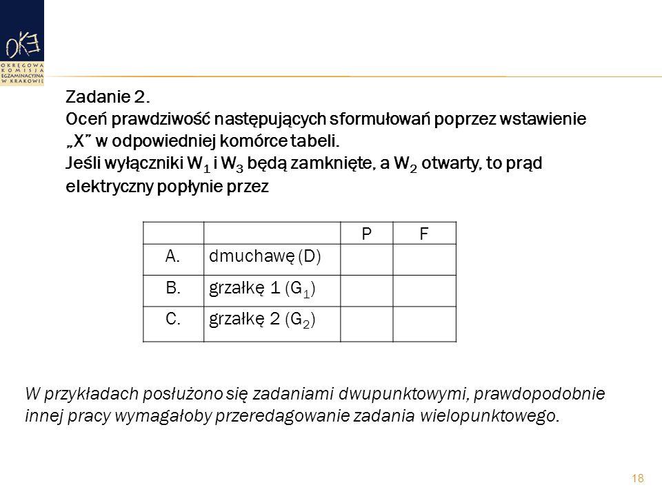 Zadanie 2. Oceń prawdziwość następujących sformułowań poprzez wstawienie X w odpowiedniej komórce tabeli. Jeśli wyłączniki W 1 i W 3 będą zamknięte, a