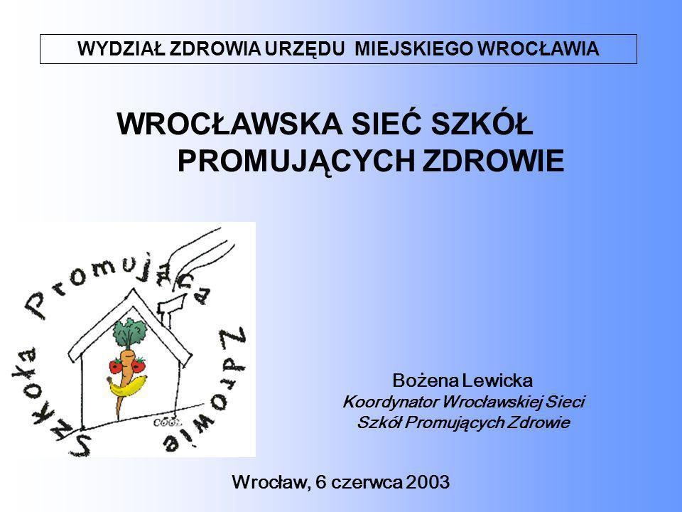 Ogólne założenia organizacyjno- merytoryczne Wrocławskiego Programu Szkół Promujących Zdrowie ` Celem ogólnym programu jest wychowywanie dla zdrowia poprzez propagowanie zdrowego stylu życia oraz kształtowanie postawy odpowiedzialności za zdrowie własne i innych Przedsięwzięcia służące osiąganiu celów Przygotowanie organizacyjno-merytoryczne, wdrożenie i realizacja programów: programy poprawiające jakość życia, kampanie edukacyjno-zdrowotne, programy profilaktyczne, programy interwencyjne, programy terapeutyczne, szkolenia nauczycieli, pedagogów, liderów, uczniów, rodziców.