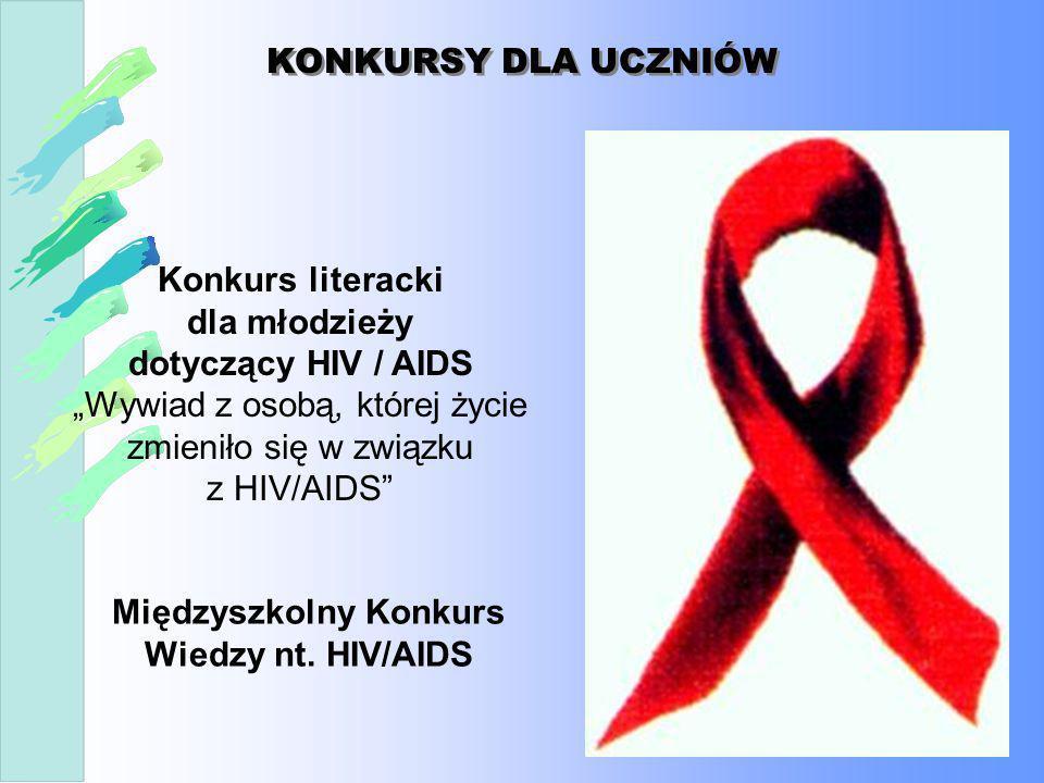 KONKURSY DLA UCZNIÓW Konkurs literacki dla młodzieży dotyczący HIV / AIDS Wywiad z osobą, której życie zmieniło się w związku z HIV/AIDS Międzyszkolny