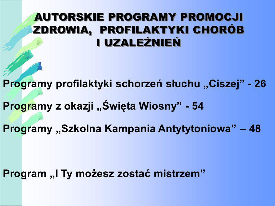 Programy profilaktyki schorzeń słuchu Ciszej - 26 Programy z okazji Święta Wiosny - 54 Programy Szkolna Kampania Antytytoniowa – 48 Program I Ty możes