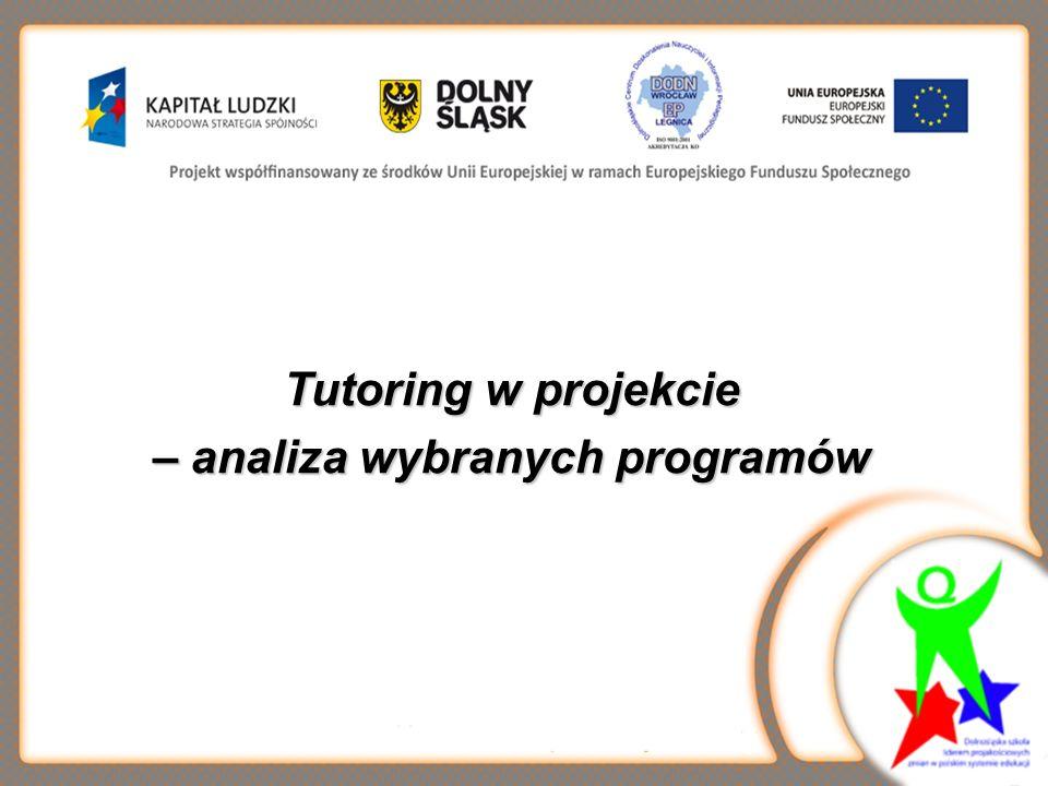 Tutoring w projekcie – analiza wybranych programów