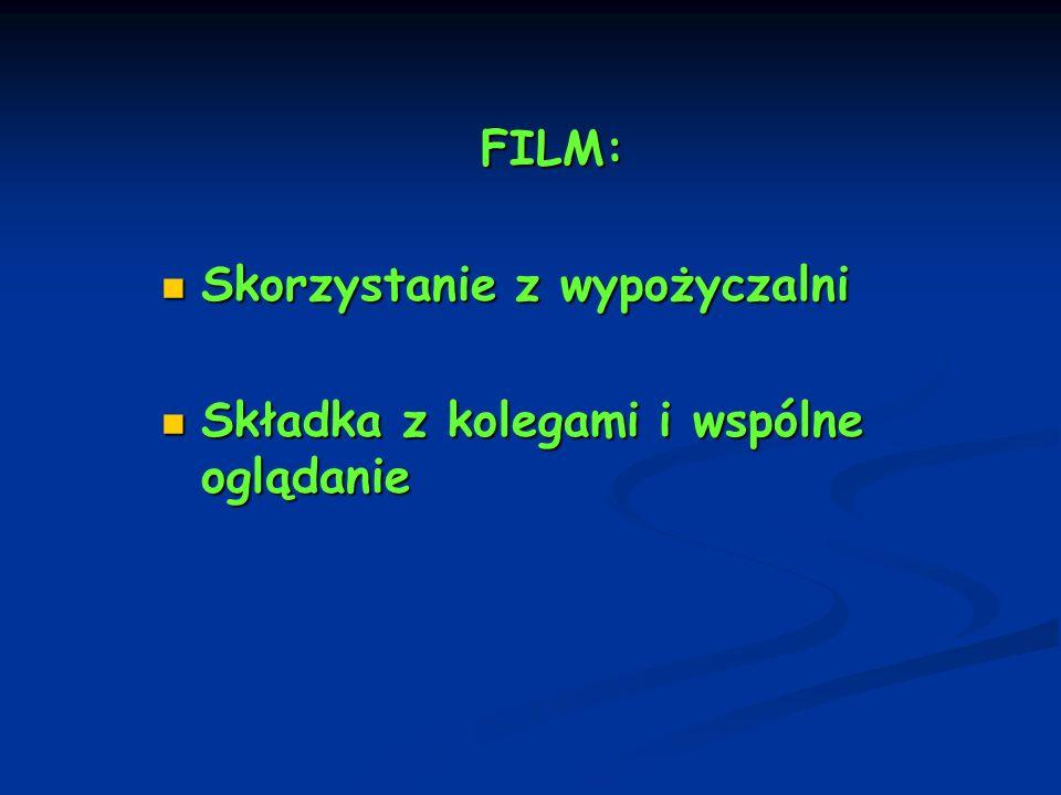 FILM: Skorzystanie z wypożyczalni Skorzystanie z wypożyczalni Składka z kolegami i wspólne oglądanie Składka z kolegami i wspólne oglądanie