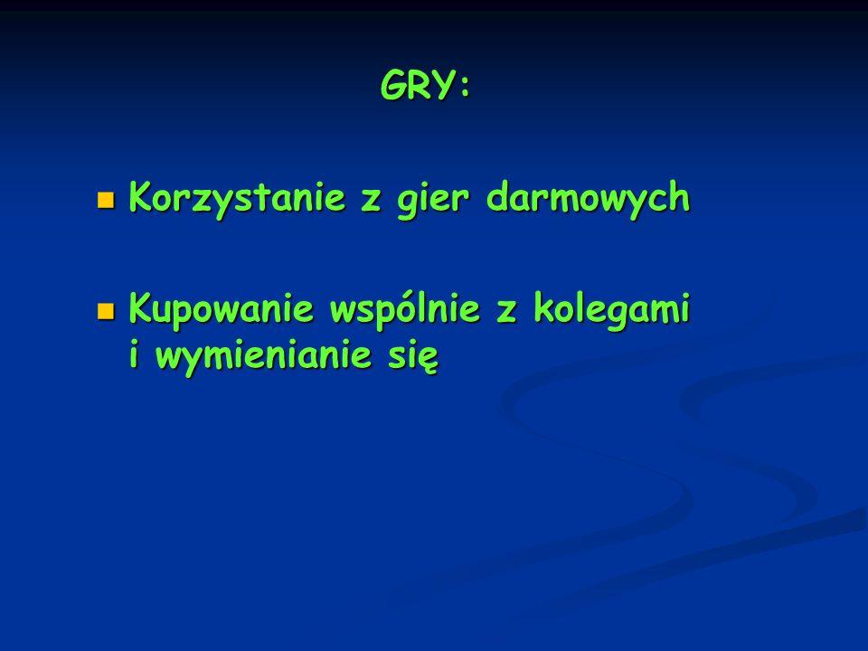 GRY: Korzystanie z gier darmowych Korzystanie z gier darmowych Kupowanie wspólnie z kolegami i wymienianie się Kupowanie wspólnie z kolegami i wymieni