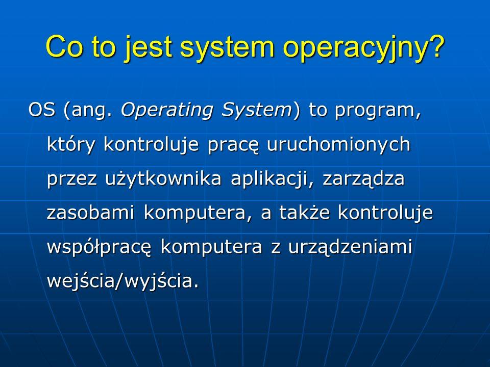 Funkcje OS Uruchamianie i wykonywanie programów Uruchamianie i wykonywanie programów Zarządzanie urządzeniami wejścia/wyjścia: dyski, ekran, klawiatura, myszka, drukarka, kamerka, głośniki, itd.