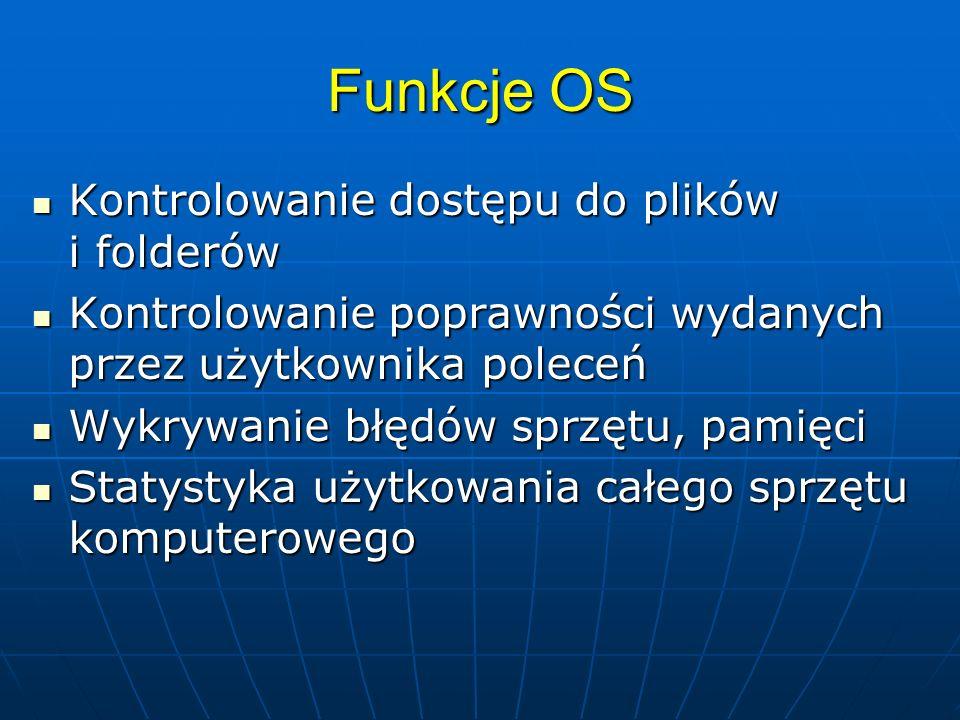 Funkcje OS Kontrolowanie dostępu do plików i folderów Kontrolowanie dostępu do plików i folderów Kontrolowanie poprawności wydanych przez użytkownika