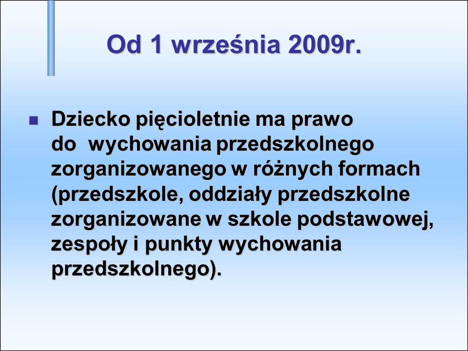 Od 1 września 2009r. Dziecko pięcioletnie ma prawo do wychowania przedszkolnego zorganizowanego w różnych formach (przedszkole, oddziały przedszkolne