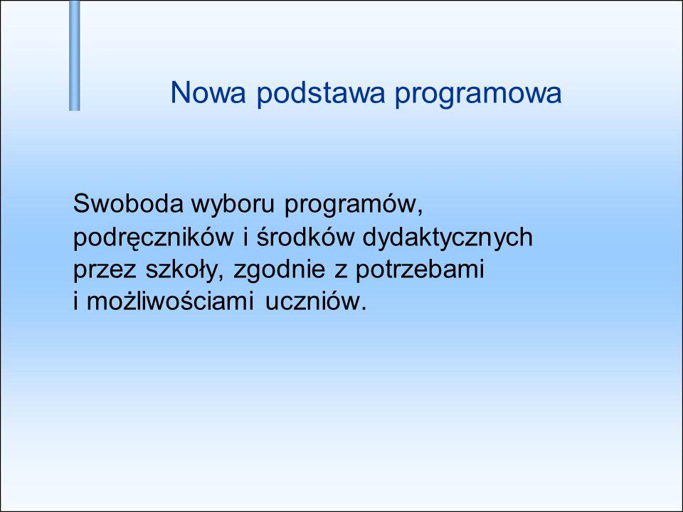 Nowa podstawa programowa Swoboda wyboru programów, podręczników i środków dydaktycznych przez szkoły, zgodnie z potrzebami i możliwościami uczniów.