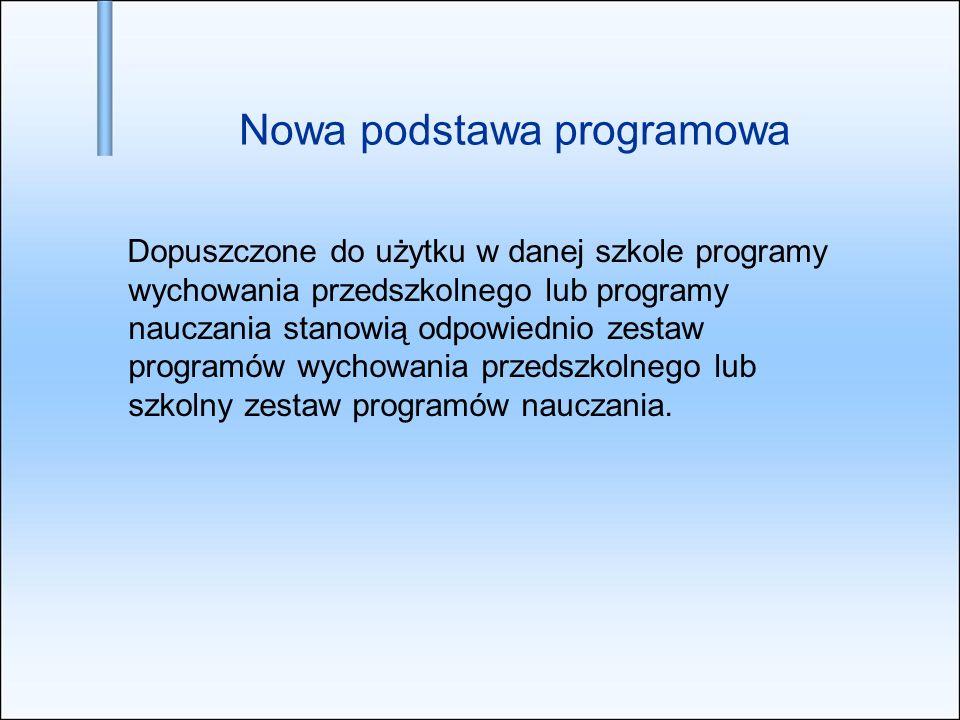 Nowa podstawa programowa Dopuszczone do użytku w danej szkole programy wychowania przedszkolnego lub programy nauczania stanowią odpowiednio zestaw pr