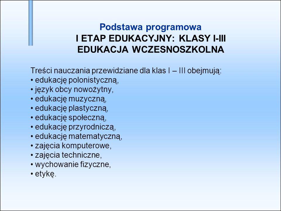 Podstawa programowa I ETAP EDUKACYJNY: KLASY I-III EDUKACJA WCZESNOSZKOLNA Treści nauczania przewidziane dla klas I – III obejmują: edukację polonisty