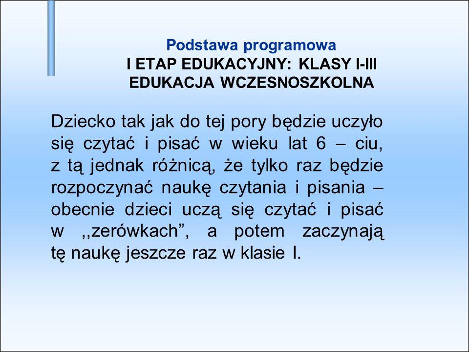 Podstawa programowa I ETAP EDUKACYJNY: KLASY I-III EDUKACJA WCZESNOSZKOLNA Dziecko tak jak do tej pory będzie uczyło się czytać i pisać w wieku lat 6