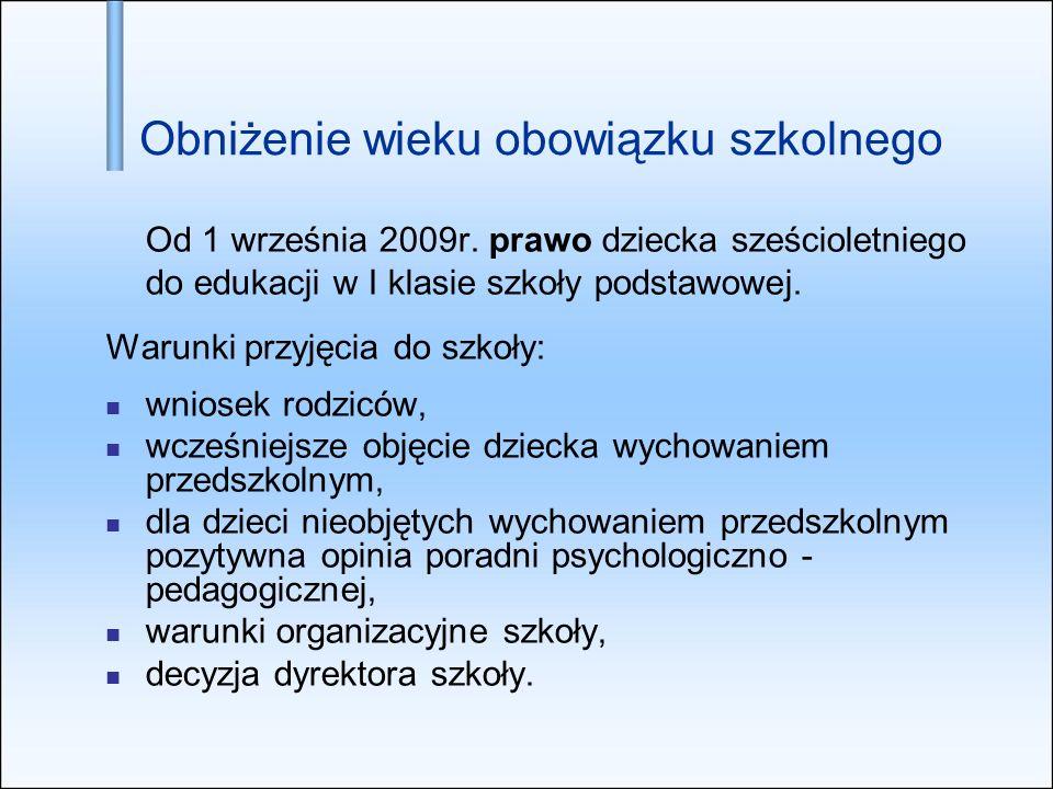 Obniżenie wieku obowiązku szkolnego Od 1 września 2009r. prawo dziecka sześcioletniego do edukacji w I klasie szkoły podstawowej. Warunki przyjęcia do