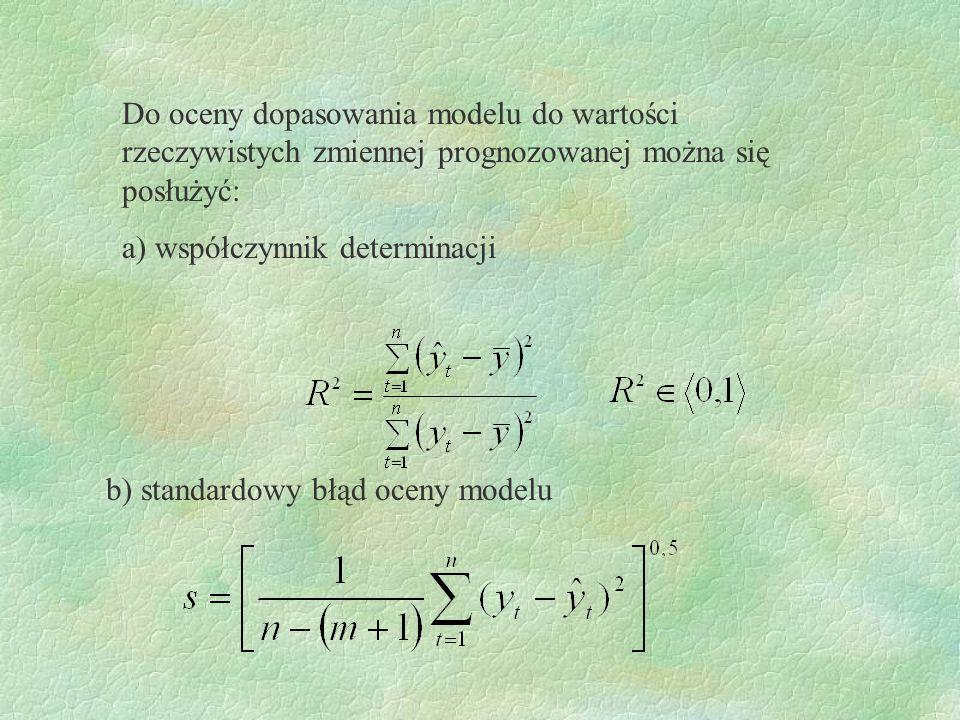Do oceny dopasowania modelu do wartości rzeczywistych zmiennej prognozowanej można się posłużyć: a) współczynnik determinacji b) standardowy błąd ocen
