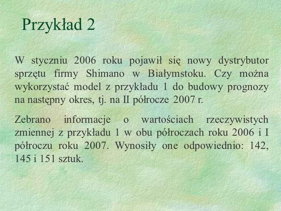 Przykład 2 W styczniu 2006 roku pojawił się nowy dystrybutor sprzętu firmy Shimano w Białymstoku. Czy można wykorzystać model z przykładu 1 do budowy
