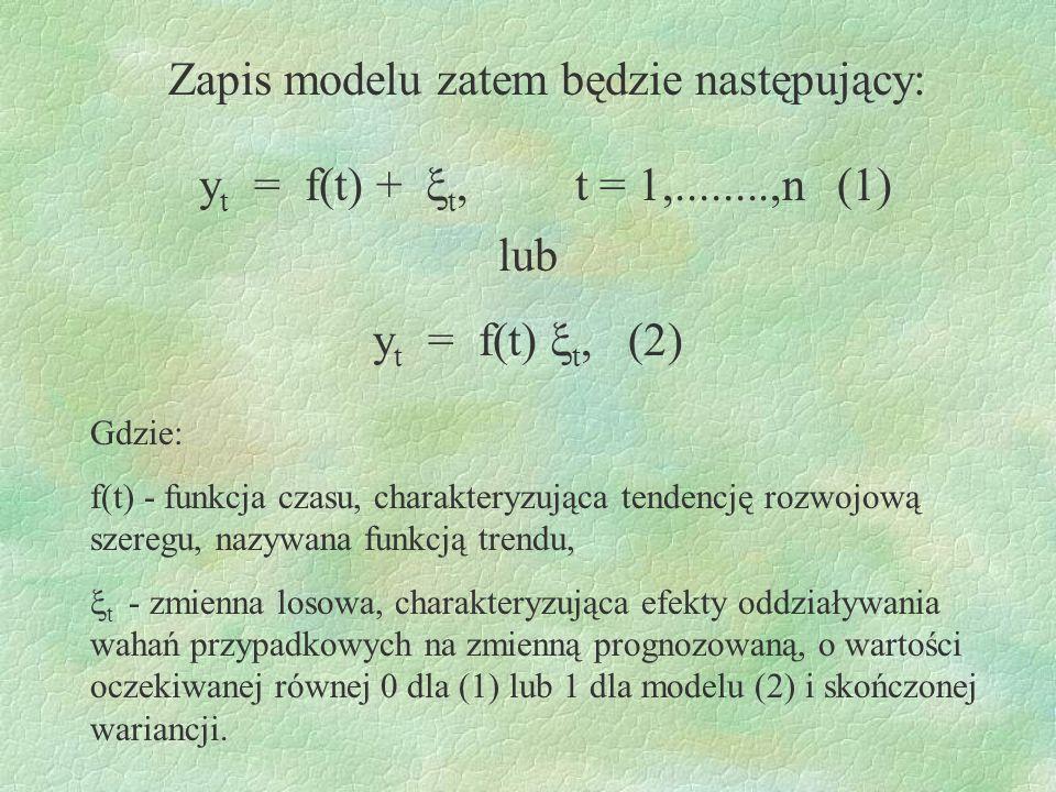 Zapis modelu zatem będzie następujący: y t = f(t) + t, t = 1,........,n (1) lub y t = f(t) t, (2) Gdzie: f(t) - funkcja czasu, charakteryzująca tenden