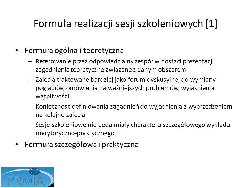 Formuła realizacji sesji szkoleniowych [1] Formuła ogólna i teoretyczna – Referowanie przez odpowiedzialny zespół w postaci prezentacji zagadnienia te
