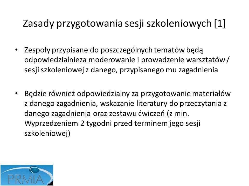 Zasady przygotowania sesji szkoleniowych [1] Zespoły przypisane do poszczególnych tematów będą odpowiedzialnieza moderowanie i prowadzenie warsztatów