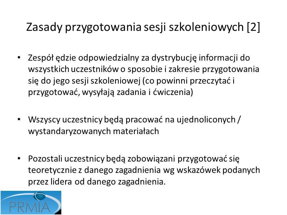 Zasady przygotowania sesji szkoleniowych [2] Zespół ędzie odpowiedzialny za dystrybucję informacji do wszystkich uczestników o sposobie i zakresie prz