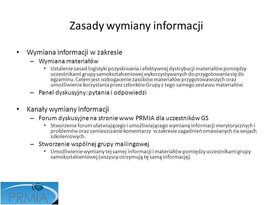 Zasady wymiany informacji Wymiana informacji w zakresie – Wymiana materiałów Ustalenie zasad logistyki pozyskiwania i efektywnej dystrybucji materiałó