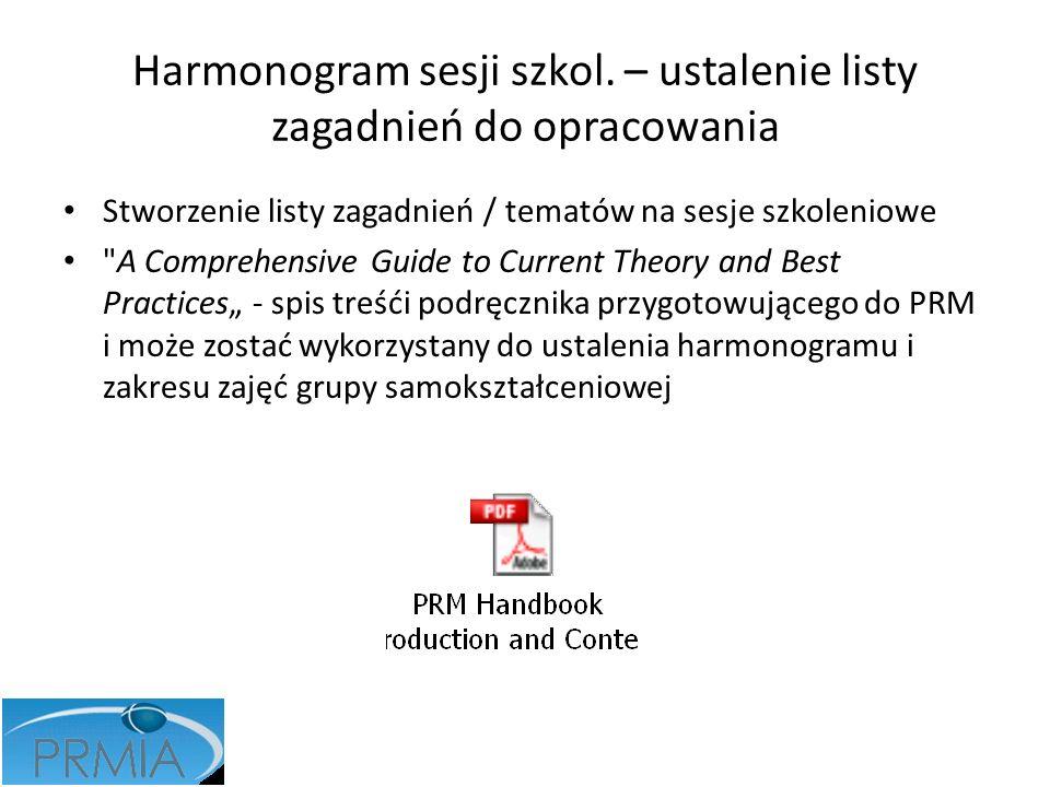 Harmonogram sesji szkol. – ustalenie listy zagadnień do opracowania Stworzenie listy zagadnień / tematów na sesje szkoleniowe