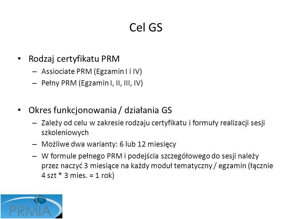 Cel GS Rodzaj certyfikatu PRM – Assiociate PRM (Egzamin I i IV) – Pełny PRM (Egzamin I, II, III, IV) Okres funkcjonowania / działania GS – Zależy od c