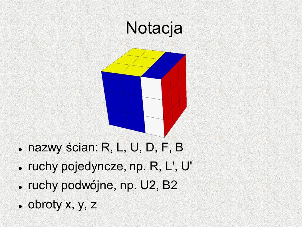 Notacja nazwy ścian: R, L, U, D, F, B ruchy pojedyncze, np. R, L', U' ruchy podwójne, np. U2, B2 obroty x, y, z