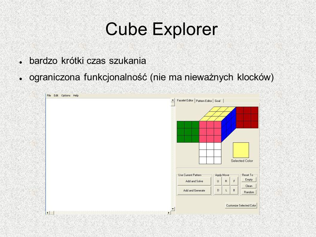 Cube Explorer bardzo krótki czas szukania ograniczona funkcjonalność (nie ma nieważnych klocków)