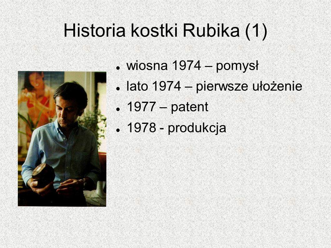 Historia kostki Rubika (1) wiosna 1974 – pomysł lato 1974 – pierwsze ułożenie 1977 – patent 1978 - produkcja
