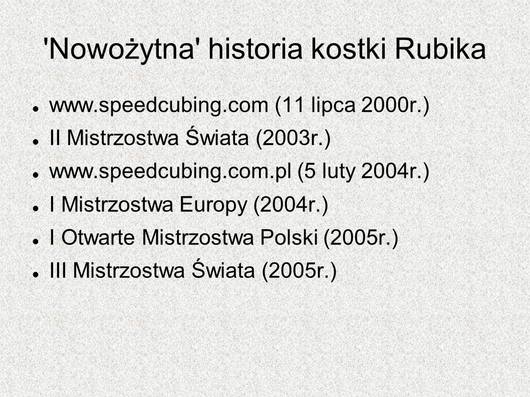 'Nowożytna' historia kostki Rubika www.speedcubing.com (11 lipca 2000r.) II Mistrzostwa Świata (2003r.) www.speedcubing.com.pl (5 luty 2004r.) I Mistr