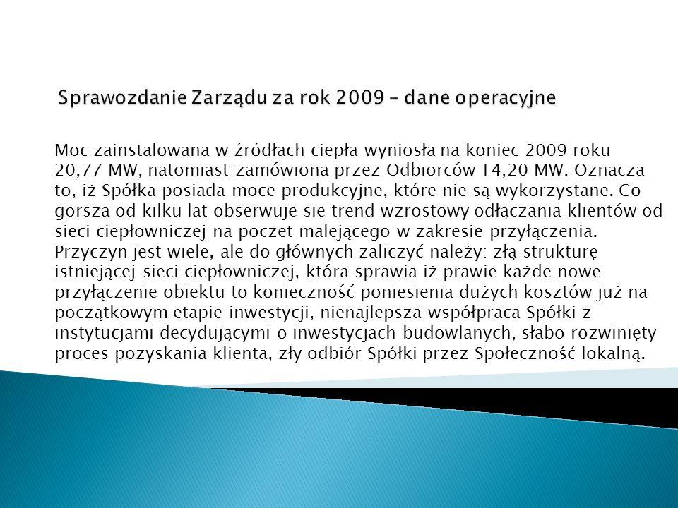 Moc zainstalowana w źródłach ciepła wyniosła na koniec 2009 roku 20,77 MW, natomiast zamówiona przez Odbiorców 14,20 MW. Oznacza to, iż Spółka posiada
