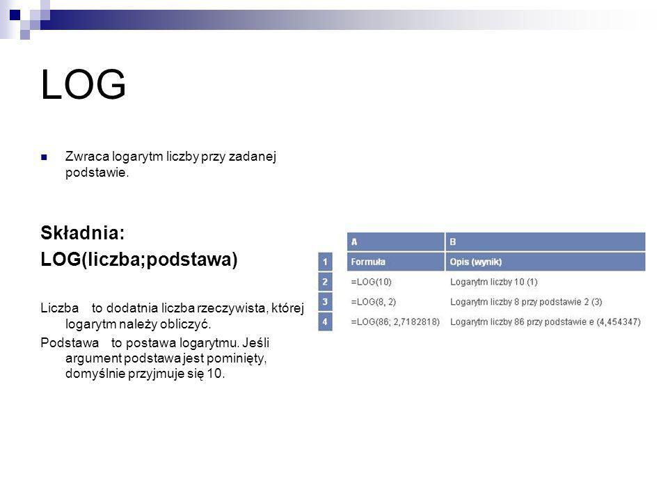 LOG Zwraca logarytm liczby przy zadanej podstawie. Składnia: LOG(liczba;podstawa) Liczba to dodatnia liczba rzeczywista, której logarytm należy oblicz