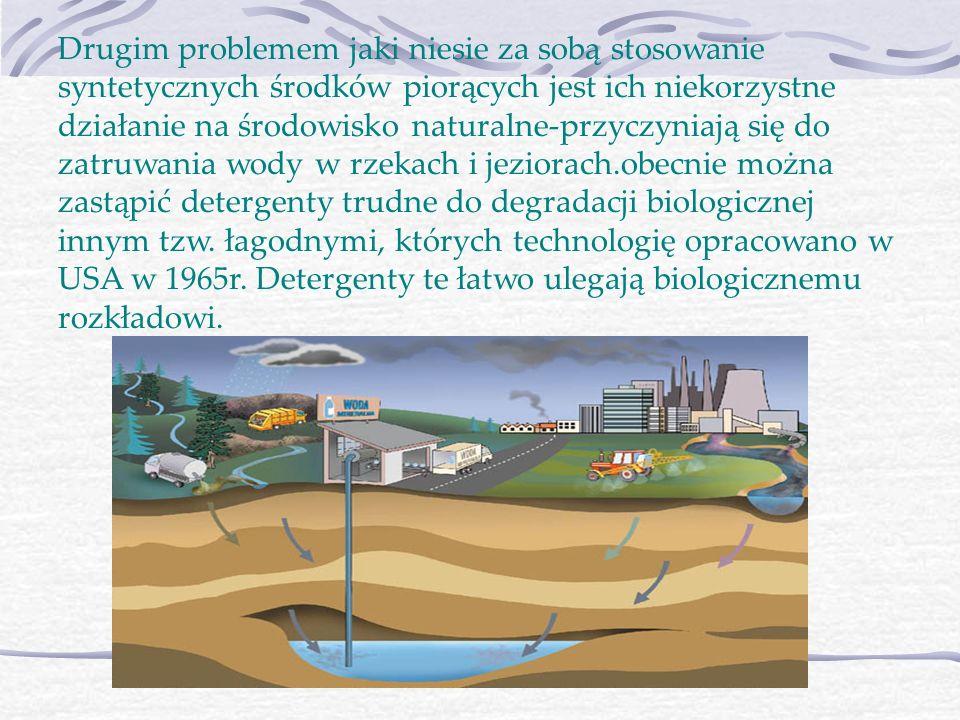 Drugim problemem jaki niesie za sobą stosowanie syntetycznych środków piorących jest ich niekorzystne działanie na środowisko naturalne-przyczyniają s