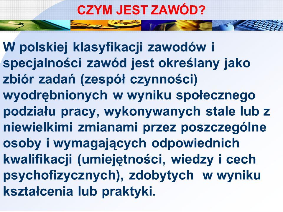 CZYM JEST ZAWÓD? W polskiej klasyfikacji zawodów i specjalności zawód jest określany jako zbiór zadań (zespół czynności) wyodrębnionych w wyniku społe