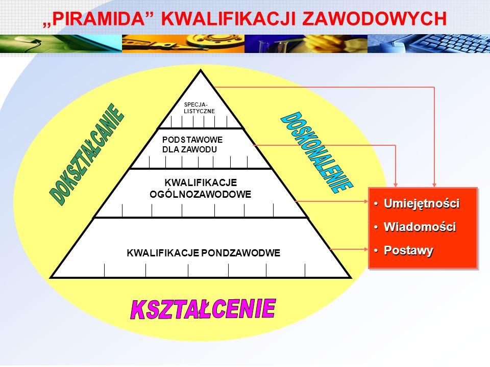 PIRAMIDA KWALIFIKACJI ZAWODOWYCH Instrukcje na stanowiskach pracy SPECJA- LISTYCZNE KWALIFIKACJE OGÓLNOZAWODOWE KWALIFIKACJE PONDZAWODWE PODSTAWOWE DL