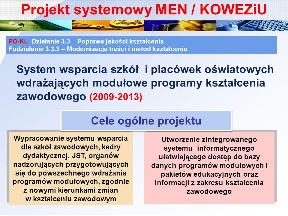 Projekt systemowy MEN / KOWEZiU System wsparcia szkół i placówek oświatowych wdrażających modułowe programy kształcenia zawodowego (2009-2013) PO-KL D